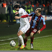 Trabzonspor's Adrian MIERZEJEWSKI (R) during their UEFA Champions League group stage matchday 5 soccer match Trabzonspor between Inter at the Avni Aker Stadium at Trabzon Turkey on Tuesday, 22 November 2011. Photo by TURKPIX