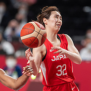 TOKYO, JAPAN August 8:  Saori Miyazaki #32 of Japan. drives to the basket defended by Ariel Atkins #7 of the United States during the Japan V USA basketball final for women at the Saitama Super Arena during the Tokyo 2020 Summer Olympic Games on August 8, 2021 in Tokyo, Japan. (Photo by Tim Clayton/Corbis via Getty Images)