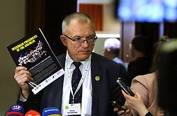 April 12, 2018 - Kyiv, Ukraine - Former Minister of Foreign Affairs of the Republic of Lithuania Petras Vaitiekunas speaks to the press on the sidelines of the 11th Kyiv Security Forum, Kyiv, capital of Ukraine, April 12, 2018. Ukrinform. (Credit Image: © Ovsyannikova Yulia/Ukrinform via ZUMA Wire)