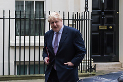 Downing Street, London, January 10th 2017. Foreign and Commonwealth Secretary Boris Johnson leaves the weekly UK cabinet meeting at 10 Downing Street as the new Parliamentary term begins.