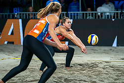 Mexime van Driel in action during the third day of the beach volleyball event King of the Court at Jaarbeursplein on September 11, 2020 in Utrecht.