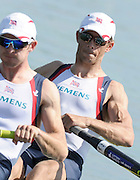 Munich, GERMANY,  Friday morning heats, GBR LM2-, Bow. Paul MATTICK and Adam FREEMAN-PASK. 2012 FISA World Cup III on the Munich Olympic Rowing Course,  Friday   15/06/2012. [Mandatory Credit Peter Spurrier/ Intersport Images]
