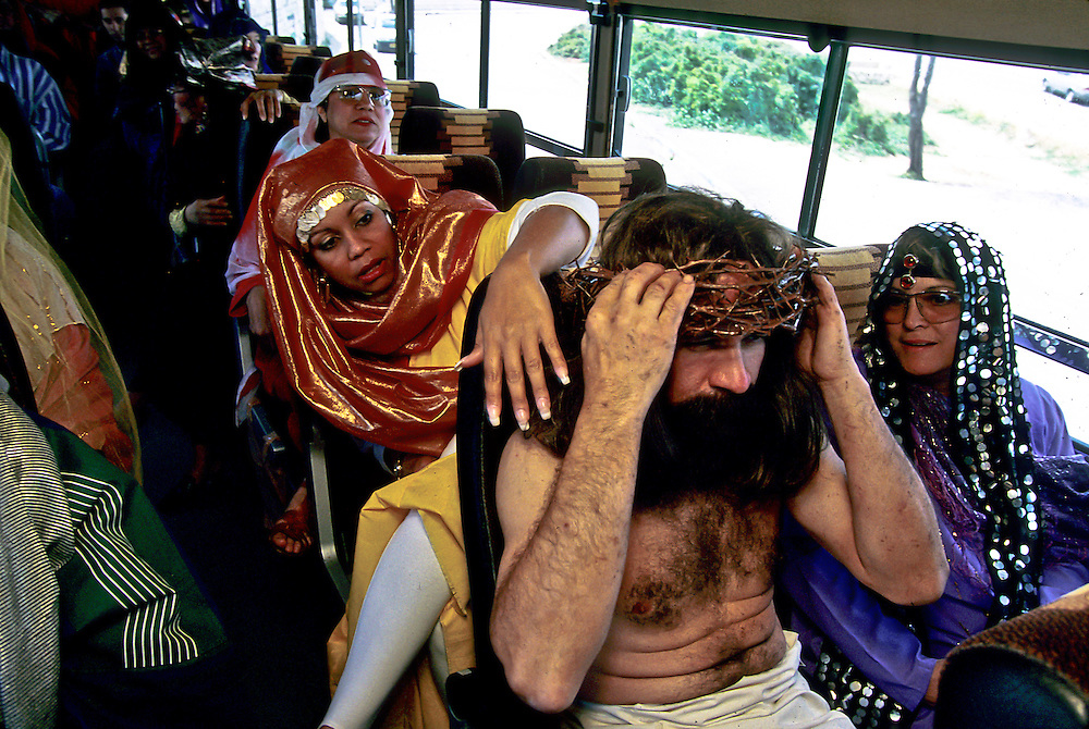 Jerusalem, Israel:  Good Friday.  Visiting pilgrims from California travel by bus to the Holy City to reinact the Way of the Cross.