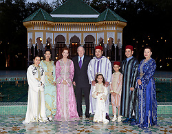 File photo - L-R : Princesses Lalla Asma, Lalla Meriem, Lalla Salma, King Juan Carlos of Spain, King Mohammed VI of Morocco, his children Lalla Khadija and Crown Prince Moulay Hassan, his brother Prince Moulay Rachid and Princess Lalla Hasna, pose for a photo at the royal residence in Dar Es Salam in Rabat, Morocco on July 15, 2013, as Moroccan Royals host a family iftar (Ramadan fast breaking meal) in honor of King Juan Carlos of Spain, who is on an 3-day official visit to Morocco. Syria's British-born first lady Asma Assad has begun treatment for breast cancer. The Syrian presidency posted on its Facebook page a photo of President Bashar Assad sitting next to his wife in a hospital room. Photo by Balkis Press/ABACAPRESS.COM