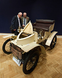 © Licensed to London News Pictures. 01/11/2012. London, UK. Owned from one family since new, the worlds oldest known surviving Vauxhall motor car, a 1903 Vauxhall 5hp Two-seater Light Car (est. GB£60,000-80,000), is inspected by visitors to Bonham's New Oxford Street auction house ahead of a veteran car sale this Friday (02/11/12).  The annual auction entitled 'Veteran Motor Cars and Related Automobilia', takes place the on Friday the 2 November, the day before the Bonham's sponsored 'London to Brighton Veteran Car Run' an event for which some of the cars are already registered to enter. Photo credit: Matt Cetti-Roberts/LNP