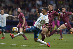 March 22, 2019 - Madrid, Madrid, Spain - Matías Suárez of Argentina fight the ball with Hernández of Venenzuela during the Friendly football match between Argentina and Venezuela at Wanda Metropolitano Stadium in 22 March 2019, Madrid, Spain, preparatory for the Copa América Brazil 2019 to be played from June 14 to July 7. (Credit Image: © Patricio Realpe/NurPhoto via ZUMA Press)
