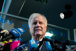 October 1, 2018 - Munich, Bavaria, Germany - The German Minister of Interiour, Housing and Community and leader of the Christian Social Union (CSU) Horst Seehofer gave a statement on the extreme right terrorists arrested today after a board meeting of his party, in Munich, Germany, on October 1, 2018. (Credit Image: © Alexander Pohl/NurPhoto/ZUMA Press)