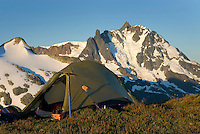 Alpine camp with Mount Shuksan in the distance, North Cascades Washington