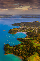 Aerial view of Okiato, Bay of Islands, Northland, on the north island of New Zealand.