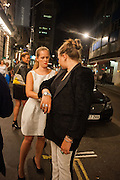ALICE CAMPBELL;; TALLULAH PINE LE BON; , , West End opening of RSC production of Julius Caesar at the Noel Coward Theatre on Saint Martin's Lane. After-party  at Salvador and Amanda, Gt. Newport St. London. 15 August 2012.