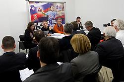 Tone Tiselj, head coach of Slovenia's women team and Franjo Bobinac, president of RZS during meeting of RZS - Handball federation of Slovenia, on March 9, 2011 in SRC Stozice, Ljubljana, Slovenia. (Photo By Vid Ponikvar / Sportida.com)