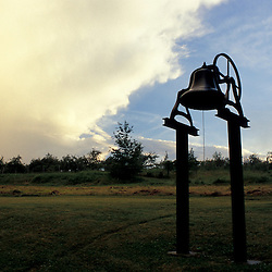 New Gloucester, ME.The bell behind the Meetinghouse at the Sabbathday Lake Shaker Village.