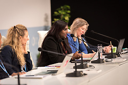 4 December 2019, Madrid, Spain: Lutheran World Federation secretary for youth Pranita Biswasi speaks at a press conference held at COP25, reporting on the findings of an interfaith dialogue on 1 December.