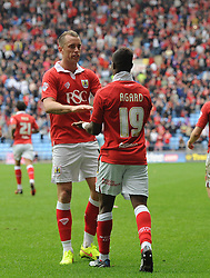 Bristol City's Kieran Agard celebrates with team mates  - Photo mandatory by-line: Joe Meredith/JMP - Mobile: 07966 386802 - 18/10/2014 - SPORT - Football - Coventry - Ricoh Arena - Bristol City v Coventry City - Sky Bet League One