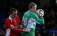 Photo: Paul Thomas.<br /> Stockport County v Swindon Town. Coca Cola League 2. 03/03/2007.<br /> <br /> Keeper Wayne Hennessey (Green) of Stockport keeps the clean sheet of 8 matches going by making a save.