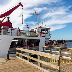 A Maine State Ferry approaches the dock on Cliff Island in Casco Bay, Portland, Maine.
