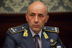 October 3, 2017 - Scampia, Naples, Italy - Finance Guard Commander Gianluigi D'Alfonso, during Police press conference to the prefect, for bilance of the blitz to day in Scampia, Napoli, Italy on October 3, 2017. Over 700 people from the State Police, Armed Forces, and the Guardia of Finance are involved in the operation, between territorial units and reinforcements. (Credit Image: © Paolo Manzo/NurPhoto via ZUMA Press)