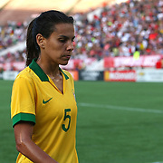 Brazil defender Thaisa (5) during a women's soccer International friendly match between Brazil and the United States National Team, at the Florida Citrus Bowl  on Sunday, November 10, 2013 in Orlando, Florida. The U.S won the game by a score of 4-1.  (AP Photo/Alex Menendez)