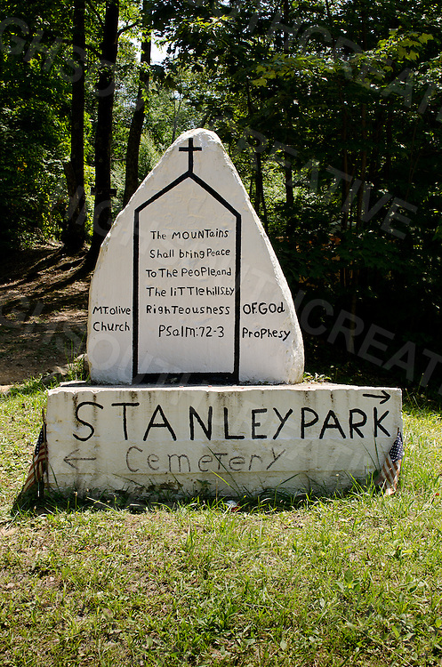The entrance to the Stanley Heirs Park on Kayford Mountain, West Virginia. The park is a beautiful enclave of off-the-grid cabins and trailers sitting on the remaining ridge of Kayford Mountain. Family land for 200 years.