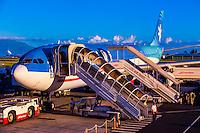 Air Tahiti Nui jet, Fa'a'ā International Airport, Faaa, Tahiti, French Polynesia.