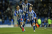 Kazenga LuaLua, Brighton midfielder scores to make it 2-0 to Brighton during the Sky Bet Championship match between Brighton and Hove Albion and Derby County at the American Express Community Stadium, Brighton and Hove, England on 3 March 2015.