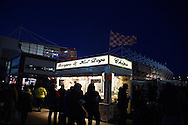 a general view outside the Britannia stadium as fans buy their food ahead of the Barclays Premier League match, Stoke city v Everton at the Britannia Stadium in Stoke on Trent , Staffs on Wed 4th March 2015.<br /> pic by Andrew Orchard, Andrew Orchard sports photography.