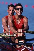 Atlanta, USA. Silver medalist NED LM2X,  Pepijn AARDEWIJN , Maarten RUPS van der LINDEN. 1996 Olympic Rowing Regatta Lake Lanier, Georgia [Mandatory Credit Peter Spurrier/ Intersport Images]