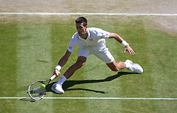 04.07.2014, All England Lawn Tennis Club, London, ENG, ATP Tour, Wimbledon, im Bild Novak Djokovic (SRB) during the Gentlemen's Singles Semi-Final match on day eleven // during the Wimbledon Championships at the All England Lawn Tennis Club in London, Great Britain on 2014/07/04. EXPA Pictures © 2014, PhotoCredit: EXPA/ Propagandaphoto/ David Rawcliffe<br /> <br /> *****ATTENTION - OUT of ENG, GBR*****
