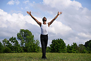 TIVOLI, NY - AUG 2:  Dancer Calvin Royal III dances in a field nearby the stage he will dance on at Kaatsbaan International Dance Center, Sunday, Aug. 2, 2020, in Tivoli, New York. (Photo by Jessica Hill for the Washington Post)
