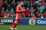 Sam Vokes of Wales  © reacts after having his shirt pulled.  Wales v Georgia , FIFA World Cup qualifier, European group D match at the Cardiff city Stadium in Cardiff on Sunday 9th October 2016. pic by Andrew Orchard, Andrew Orchard sports photography