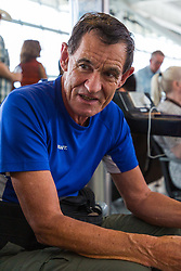 Patrick Smyth, 61, an IT consultant from Hexam, waits for alternative flight arrangements for his Swiss walking holiday at Terminal 5 at Heathrow Airport after an IT glitch brings British Airways systems to a halt, causing disruption to thousands of passengers with flights cancelled and delayed. London, August 07 2019.
