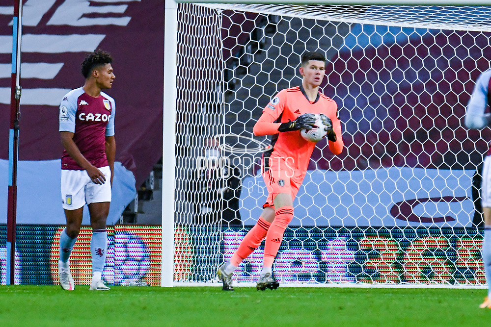 Leeds United goalkeeper Illan Meslier (1) in action during the Premier League match between Aston Villa and Leeds United at Villa Park, Birmingham, England on 23 October 2020.
