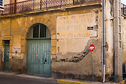 Faded sign for Banyuls wine, Cote Vermeille, Pyrenees Orientale, France