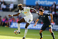Tammy Abraham of Swansea city shields the ball from Sampdoria's Matias Silvestre. Swansea city v Sampdoria , pre-season friendly at the Liberty Stadium in Swansea, South Wales on Saturday August 5th 2017.<br /> pic by Andrew Orchard, Andrew Orchard sports photography.