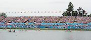 Eton Dorney, Windsor, Great Britain,..2012 London Olympic Regatta, Dorney Lake. Eton Rowing Centre, Berkshire[ Rowing]...Description;   Women's Pair Final approaching the line.  GBR W2- Helen GLOVER (b) , Heather STANNING (s).AUS W2- Kate HORNSEY (b) , Sarah TAIT (s).NZL W2- .Juliette HAIGH (b) , Rebecca SCOWN (s).USA.W2- Sara HENDERSHOT (b) , Sarah ZELENKA (s).ROM W2- Georgeta ANDRUNACHE (b) , Viorica SUSANU (s)   GER.W2- Kerstin HARTMANN (b) , Marlene SINNIG (s)  Dorney Lake. 11:57:33  Wednesday  01/08/2012.  [Mandatory Credit: Peter Spurrier/Intersport Images].Dorney Lake, Eton, Great Britain...Venue, Rowing, 2012 London Olympic Regatta...