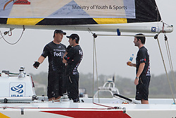 Is there tension onboard Adam Minoprio's boat during qualifying session 2 Monsoon Cup 2010? World Match Racing Tour, Kuala Terengganu, Malaysia. 2 December 2010. Photo: Subzero Images/WMRT