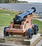 A cannon points towards the James River at Historic Jamestowne, a National Historic Site that is part of Colonial National Historical Park, Virginia, USA. Jamestown was founded by the Virginia Company of London on May 14, 1607 on Jamestown Island, and is commonly regarded as the first permanent English settlement in what is now the United States of America. (Several earlier colonies failed.) Located in James City County when it was formed in 1634 as one of the original eight shires of Virginia, Jamestown was the capital of the Colony for 83 years, from 1616 until 1698. In 1698, the capital was relocated to Middle Plantation, about 8 miles (13 km) distant, a small community which was already home to the new College of William and Mary in 1693 and was renamed Williamsburg in 1699.
