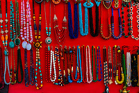 Jewelry at an otudoor market, Old Leh, Ladakh, Jammu and Kashmir State, India.