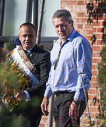 © Licensed to London News Pictures. 04/11/2020. Shoreham, UK. Former New Zealand All Blacks rugby player Zinzan Brooke (R) attends the funeral of police Sgt Matt Ratana at a funeral directors in Shoreham, West Sussex. Family members were joined by police colleagues including Metropolitan Police Commissioner Cressida Dick. A traditonal Maori Haka was performed during the service. Sgt Ratana died from a gunshot wound to the chest in the early hours of September 25 at Croydon custody centre. Photo credit: Peter Macdiarmid/LNP