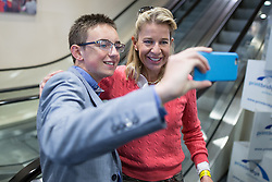 © Licensed to London News Pictures . 25/09/2015 . Doncaster , UK . An 18 year old fan poses for a selfie with KATIE HOPKINS at the 2015 UKIP Party Conference at Doncaster Racecourse , this morning (Friday 25th September 2015) . Photo credit : Joel Goodman/LNP