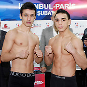 Istanbulls Abdullah DURSUN (L) and Paris United Nordine OUBAALI boxers seen during their Presentation and the weighing ceremony matchday 10 of the World Series of Boxing at Ahmet Comert Arena in Istanbul, Turkey, Thursday, February 24, 2011. Photo by TURKPIX