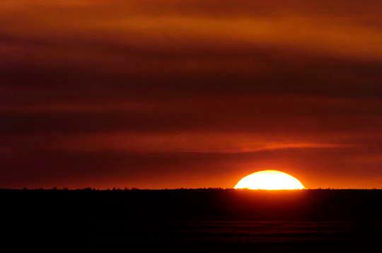 Sunset over Charles M. Russell National Wildlife Refuge. Montana. Summer