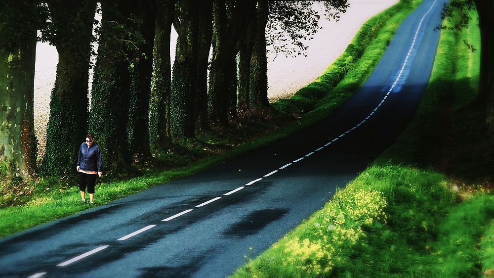 This beautiful road is in a rural part of the Dordogne region of central France.