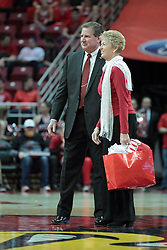 26 February 2014:  Dr. Linda Herman gets introduced and welcomed to the MVC Hall of Fame by ISU Atletic Director Larry Lyons during an NCAA Missouri Valley Conference (MVC) mens basketball game between the Indiana State Sycamores and the Illinois State Redbirds  in Redbird Arena, Normal IL.