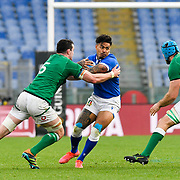 Roma 27/02/2021, Stadio Olimpico<br /> Guinness Six Nations 2021<br /> Italia vs Irlanda <br /> <br /> Monty Ioane placcato da James Ryan