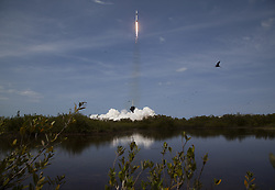 In this photo released by the National Aeronautics and Space Administration (NASA), A SpaceX Falcon 9 rocket carrying the company's Crew Dragon spacecraft is launched from Launch Complex 39A on NASA's SpaceX Demo-2 mission to the International Space Station with NASA astronauts Robert Behnken and Douglas Hurley onboard, Saturday, May 30, 2020, at NASA's Kennedy Space Center in Florida. The Demo-2 mission is the first launch with astronauts of the SpaceX Crew Dragon spacecraft and Falcon 9 rocket to the International Space Station as part of the agency's Commercial Crew Program. The test flight serves as an end-to-end demonstration of SpaceX's crew transportation system. Behnken and Hurley launched at 3:22 p.m. EDT on Saturday, May 30, from Launch Complex 39A at the Kennedy Space Center. A new era of human spaceflight is set to begin as American astronauts once again launch on an American rocket from American soil to low-Earth orbit for the first time since the conclusion of the Space Shuttle Program in 2011. Photo by Bill Ingalls / NASA via CNP/ABACAPRESS.COM