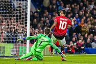 Manchester United Forward Marcus Rashford (10) comes close following a poor back pass to Chelsea goalkeeper Kepa Arrizabalaga (1) during the The FA Cup match between Chelsea and Manchester United at Stamford Bridge, London, England on 18 February 2019.
