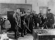 World War II: Russian (USSR) soldiers removing equipment from a Manchurian factory, 1946.
