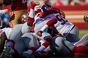 A dog-pile between the San Francisco 49ers and the New York Giants at Levi's Stadium in Santa Clara, Calif., on November 12, 2017. (Stan Olszewski/Special to S.F. Examiner)