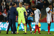 England manager Gareth Southgate congratulates Joe Hart of England at the end of the match.  FIFA World cup qualifying match, European group F, England v Slovakia at Wembley Stadium in London on Monday 4th September 2017.<br /> pic by Andrew Orchard, Andrew Orchard sports photography.